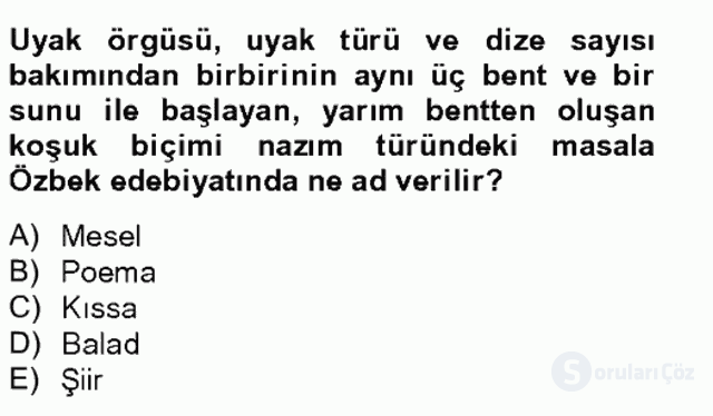 Çağdaş Türk Edebiyatları II Tek Ders Sınavı 8. Soru