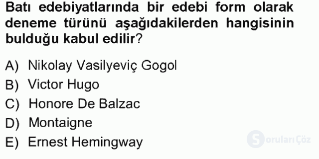 Cumhuriyet Dönemi Türk Nesri Tek Ders Sınavı 1. Soru