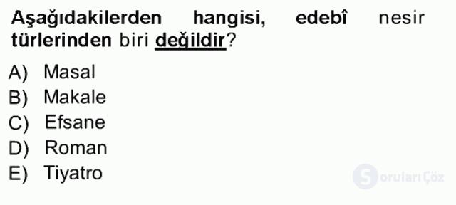 Cumhuriyet Dönemi Türk Nesri Tek Ders Sınavı 16. Soru
