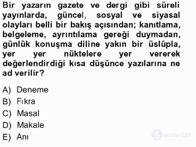 Cumhuriyet Dönemi Türk Nesri Tek Ders Sınavı 19. Soru