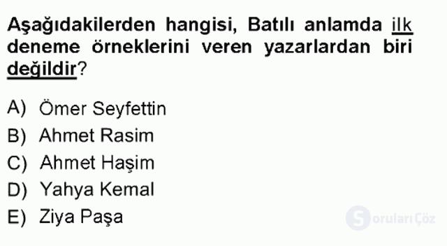 Cumhuriyet Dönemi Türk Nesri Tek Ders Sınavı 2. Soru