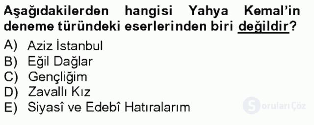 Cumhuriyet Dönemi Türk Nesri Tek Ders Sınavı 20. Soru