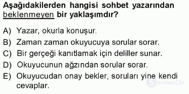 Cumhuriyet Dönemi Türk Nesri Tek Ders Sınavı 4. Soru