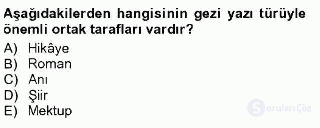 Cumhuriyet Dönemi Türk Nesri Tek Ders Sınavı 6. Soru