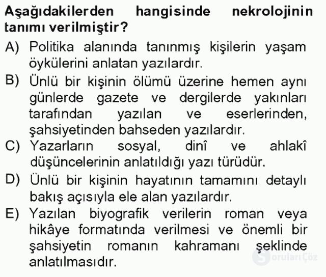 Cumhuriyet Dönemi Türk Nesri Tek Ders Sınavı 9. Soru