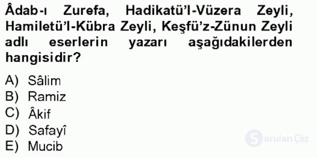 Eski Türk Edebiyatının Kaynaklarından Şair Tezkireleri Tek Ders Sınavı 12. Soru