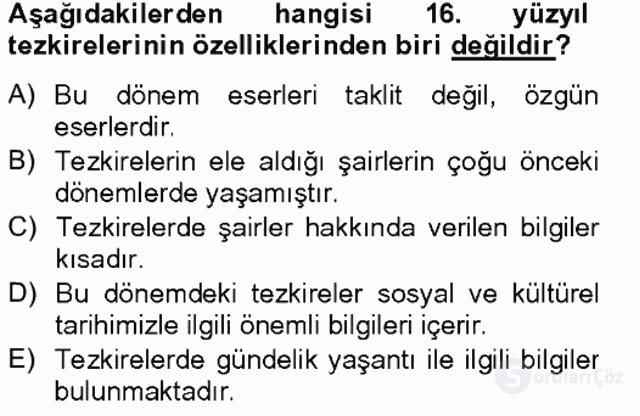 Eski Türk Edebiyatının Kaynaklarından Şair Tezkireleri Tek Ders Sınavı 7. Soru