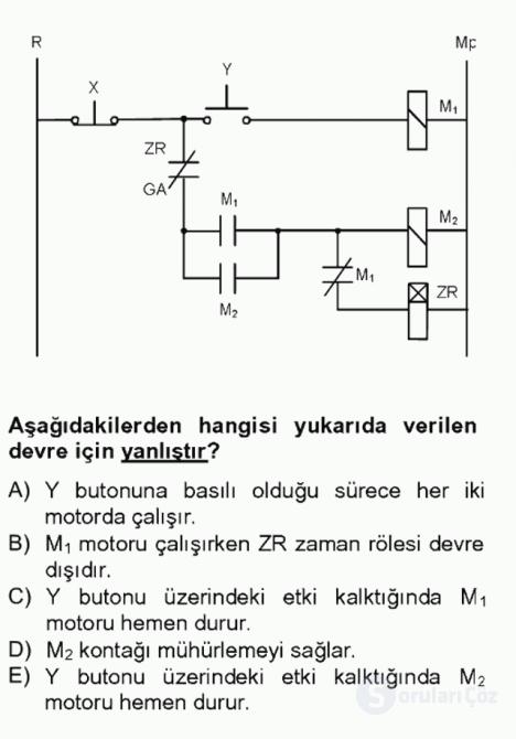 Elektromekanik Kumanda Sistemleri Tek Ders Sınavı 10. Soru