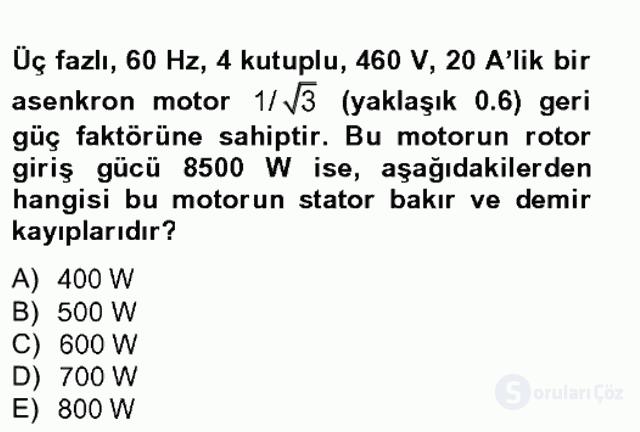 Elektromekanik Kumanda Sistemleri Tek Ders Sınavı 2. Soru