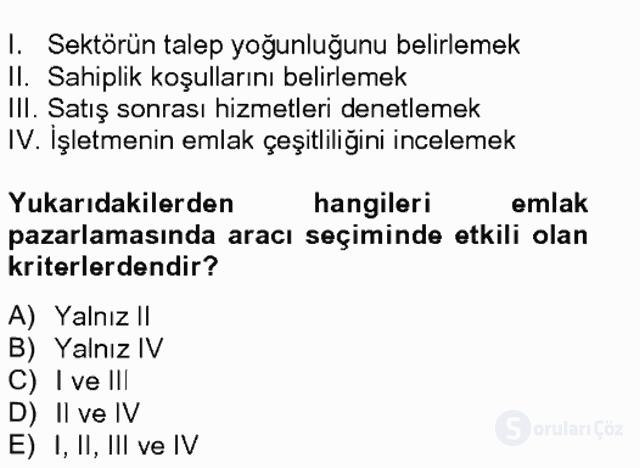 Emlak Yönetimi ve Pazarlaması Tek Ders Sınavı 12. Soru