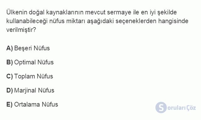 İKT402U 1. Ünite Türkiye Ekonomisinin Temel Özellikleri ve Dünya Ekonomisindeki Yeri Testi II 1. Soru