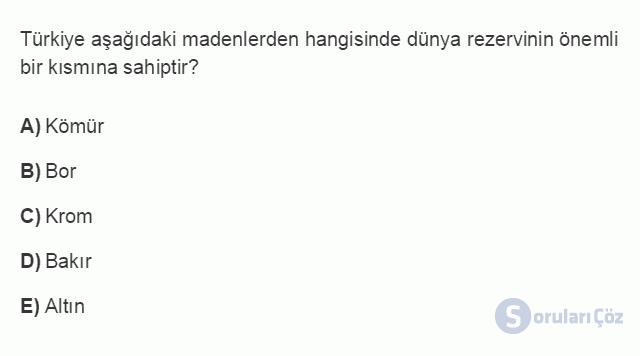 İKT402U 1. Ünite Türkiye Ekonomisinin Temel Özellikleri ve Dünya Ekonomisindeki Yeri Testi II 10. Soru