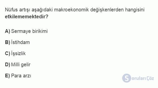 İKT402U 1. Ünite Türkiye Ekonomisinin Temel Özellikleri ve Dünya Ekonomisindeki Yeri Testi II 11. Soru
