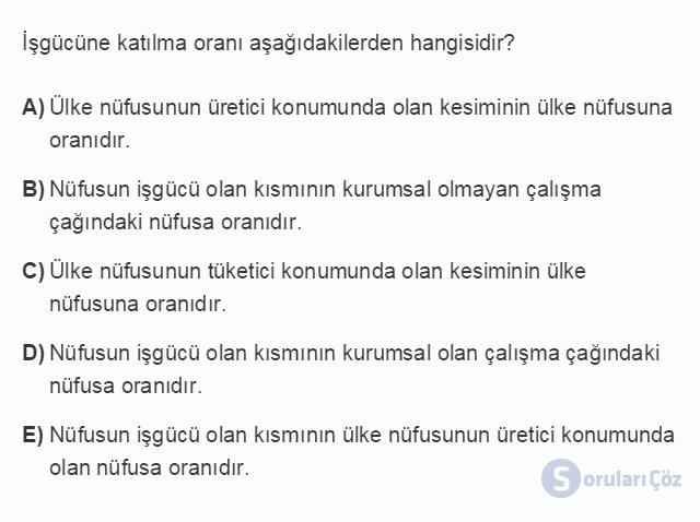 İKT402U 1. Ünite Türkiye Ekonomisinin Temel Özellikleri ve Dünya Ekonomisindeki Yeri Testi II 13. Soru