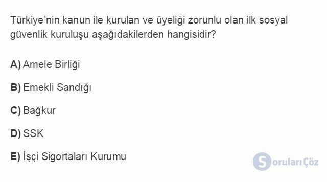 İKT402U 1. Ünite Türkiye Ekonomisinin Temel Özellikleri ve Dünya Ekonomisindeki Yeri Testi II 16. Soru