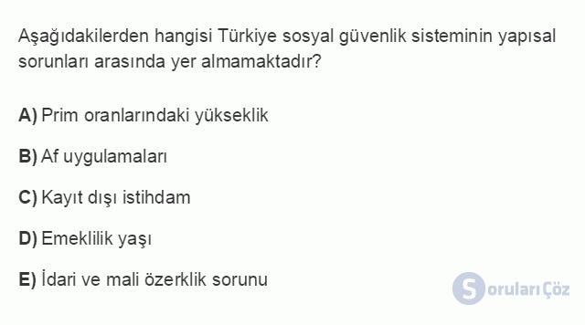 İKT402U 1. Ünite Türkiye Ekonomisinin Temel Özellikleri ve Dünya Ekonomisindeki Yeri Testi II 18. Soru