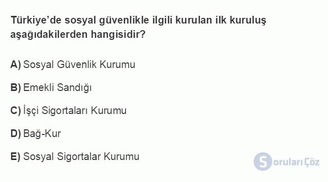 İKT402U 1. Ünite Türkiye Ekonomisinin Temel Özellikleri ve Dünya Ekonomisindeki Yeri Testi II 20. Soru