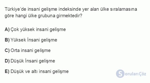 İKT402U 1. Ünite Türkiye Ekonomisinin Temel Özellikleri ve Dünya Ekonomisindeki Yeri Testi II 5. Soru