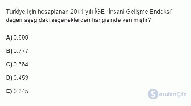 İKT402U 1. Ünite Türkiye Ekonomisinin Temel Özellikleri ve Dünya Ekonomisindeki Yeri Testi II 7. Soru