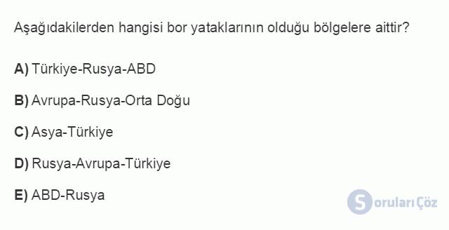 İKT402U 1. Ünite Türkiye Ekonomisinin Temel Özellikleri ve Dünya Ekonomisindeki Yeri Testi III 1. Soru