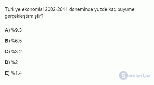 İKT402U 1. Ünite Türkiye Ekonomisinin Temel Özellikleri ve Dünya Ekonomisindeki Yeri Testi III 10. Soru