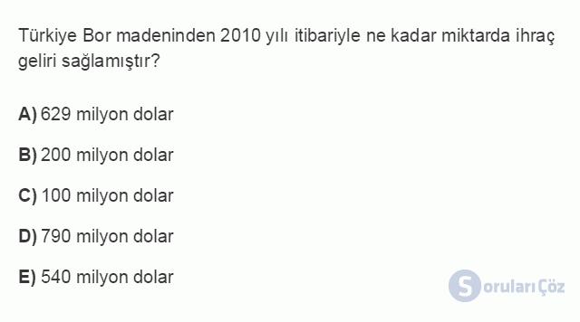 İKT402U 1. Ünite Türkiye Ekonomisinin Temel Özellikleri ve Dünya Ekonomisindeki Yeri Testi III 15. Soru