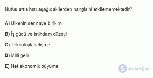 İKT402U 1. Ünite Türkiye Ekonomisinin Temel Özellikleri ve Dünya Ekonomisindeki Yeri Testi III 2. Soru