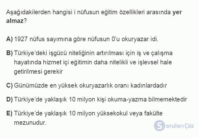 İKT402U 1. Ünite Türkiye Ekonomisinin Temel Özellikleri ve Dünya Ekonomisindeki Yeri Testi III 5. Soru