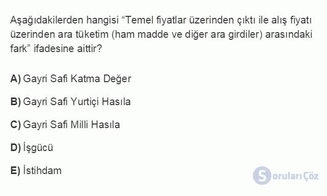 İKT402U 1. Ünite Türkiye Ekonomisinin Temel Özellikleri ve Dünya Ekonomisindeki Yeri Testi III 9. Soru
