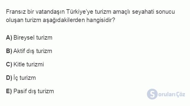 TRZ201U 2. Ünite Turizm Faaliyetlerinin Sınıflandırılması Testi III 12. Soru