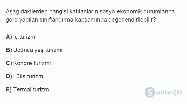 TRZ201U 2. Ünite Turizm Faaliyetlerinin Sınıflandırılması Testi III 4. Soru