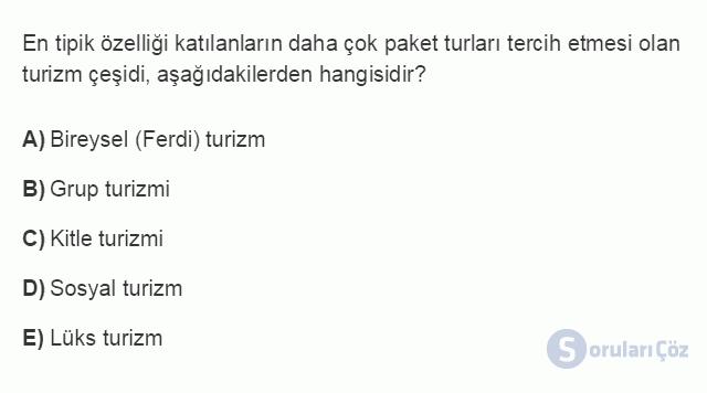 TRZ201U 2. Ünite Turizm Faaliyetlerinin Sınıflandırılması Testi III 7. Soru
