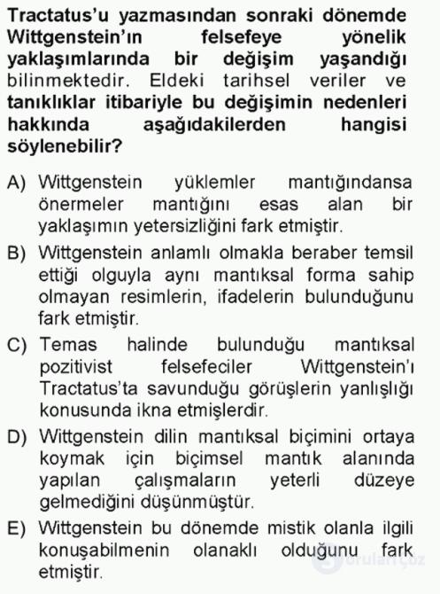 Çağdaş Felsefe I Tek Ders Sınavı 11. Soru