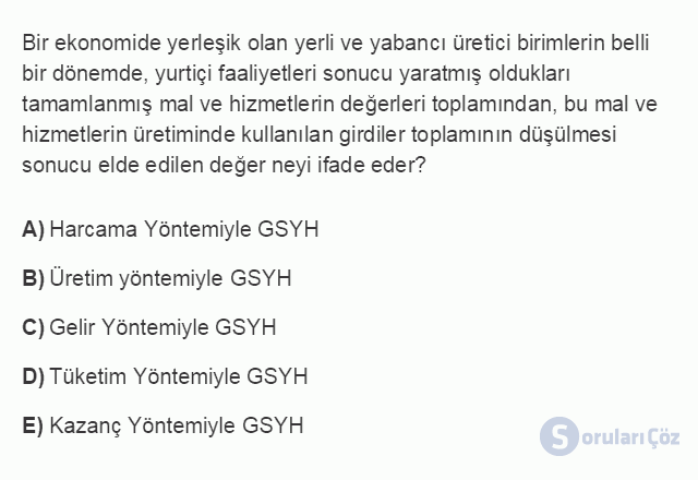 İKT402U 2. Ünite Türkiye'de Milli Gelir, Gelir Dağılımı ve Yoksulluk Testi I 1. Soru
