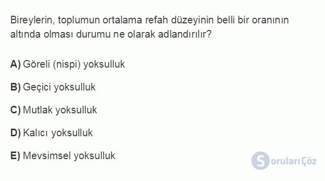 İKT402U 2. Ünite Türkiye'de Milli Gelir, Gelir Dağılımı ve Yoksulluk Testi I 10. Soru