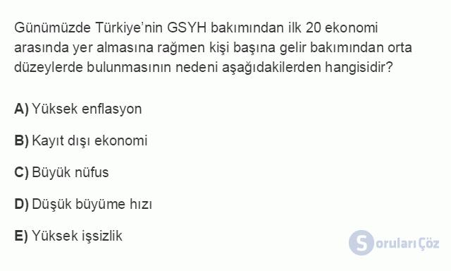 İKT402U 2. Ünite Türkiye'de Milli Gelir, Gelir Dağılımı ve Yoksulluk Testi I 11. Soru