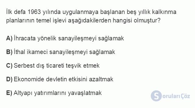 İKT402U 2. Ünite Türkiye'de Milli Gelir, Gelir Dağılımı ve Yoksulluk Testi I 12. Soru