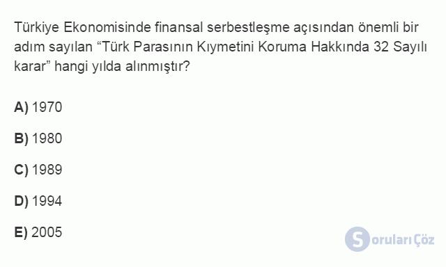 İKT402U 2. Ünite Türkiye'de Milli Gelir, Gelir Dağılımı ve Yoksulluk Testi I 13. Soru