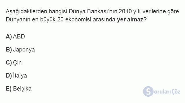 İKT402U 2. Ünite Türkiye'de Milli Gelir, Gelir Dağılımı ve Yoksulluk Testi I 14. Soru