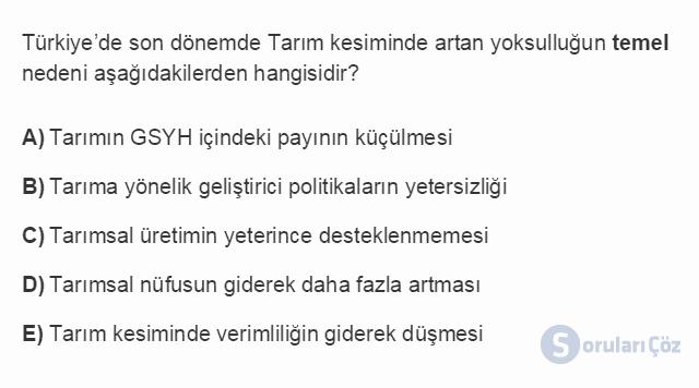 İKT402U 2. Ünite Türkiye'de Milli Gelir, Gelir Dağılımı ve Yoksulluk Testi I 15. Soru
