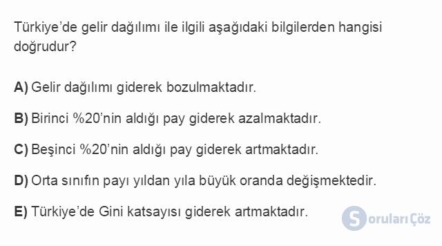 İKT402U 2. Ünite Türkiye'de Milli Gelir, Gelir Dağılımı ve Yoksulluk Testi I 16. Soru