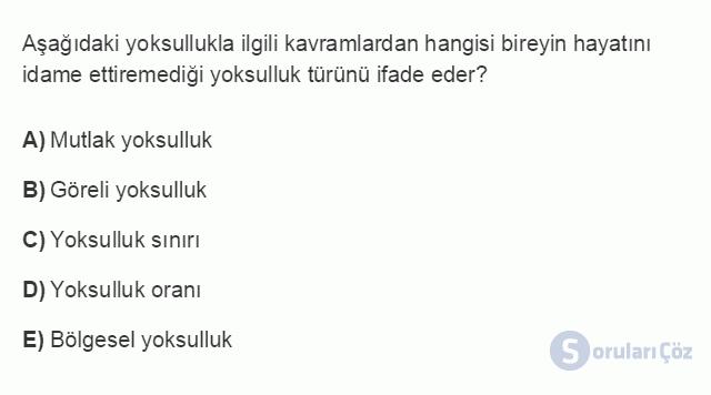 İKT402U 2. Ünite Türkiye'de Milli Gelir, Gelir Dağılımı ve Yoksulluk Testi I 17. Soru