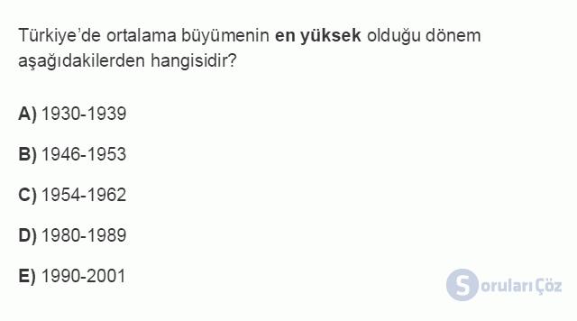 İKT402U 2. Ünite Türkiye'de Milli Gelir, Gelir Dağılımı ve Yoksulluk Testi I 18. Soru