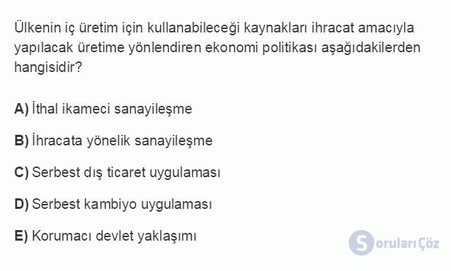İKT402U 2. Ünite Türkiye'de Milli Gelir, Gelir Dağılımı ve Yoksulluk Testi I 19. Soru