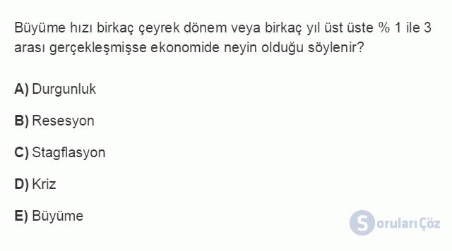 İKT402U 2. Ünite Türkiye'de Milli Gelir, Gelir Dağılımı ve Yoksulluk Testi I 2. Soru