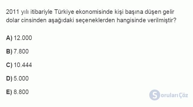 İKT402U 2. Ünite Türkiye'de Milli Gelir, Gelir Dağılımı ve Yoksulluk Testi I 20. Soru