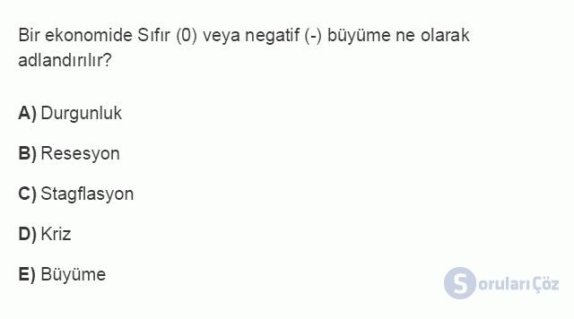 İKT402U 2. Ünite Türkiye'de Milli Gelir, Gelir Dağılımı ve Yoksulluk Testi I 3. Soru