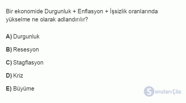İKT402U 2. Ünite Türkiye'de Milli Gelir, Gelir Dağılımı ve Yoksulluk Testi I 4. Soru