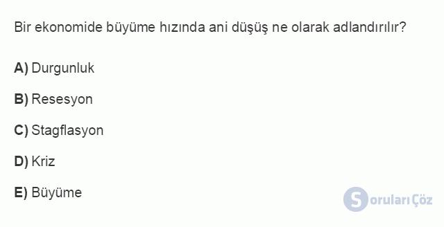 İKT402U 2. Ünite Türkiye'de Milli Gelir, Gelir Dağılımı ve Yoksulluk Testi I 5. Soru