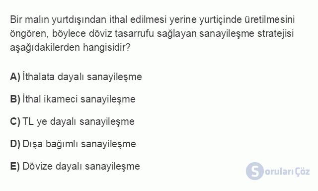 İKT402U 2. Ünite Türkiye'de Milli Gelir, Gelir Dağılımı ve Yoksulluk Testi I 6. Soru